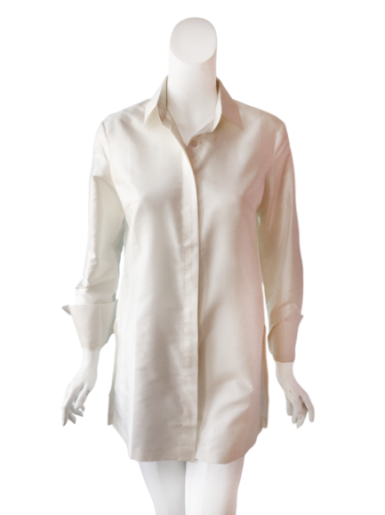 Barbara Top in White Silk