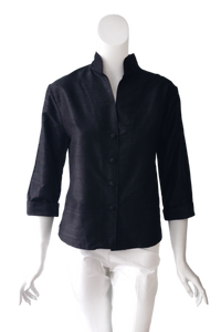 Caroline Top in Black Silk