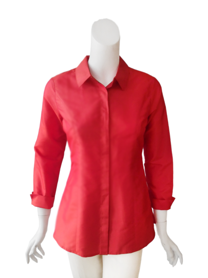 Cecilia Blouse in Coral Silk