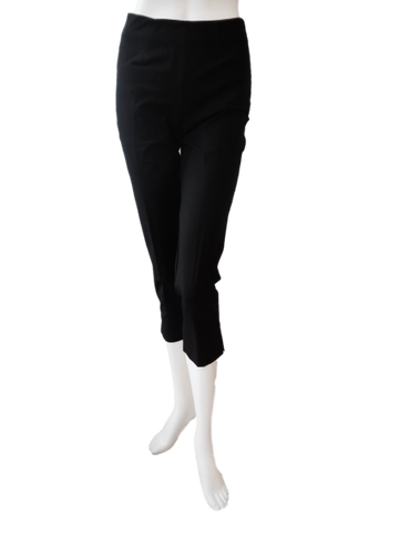 Crop Silk Stretch Pant in Black