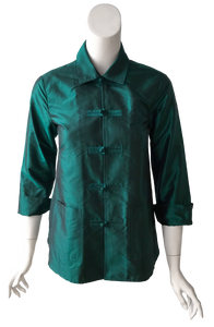 Fernanda Top in Emerald Silk