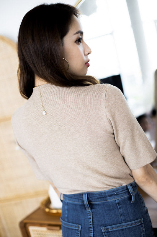 *Backorder* Maeve Basic Sleeve Top – Walnut