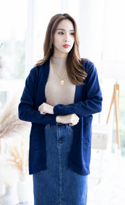 *Restocked* Zoe Basic Knit Cardigan – Navy