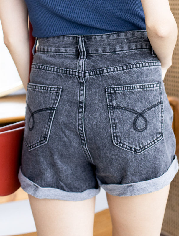Kelsey Denim Shorts – Black Denim