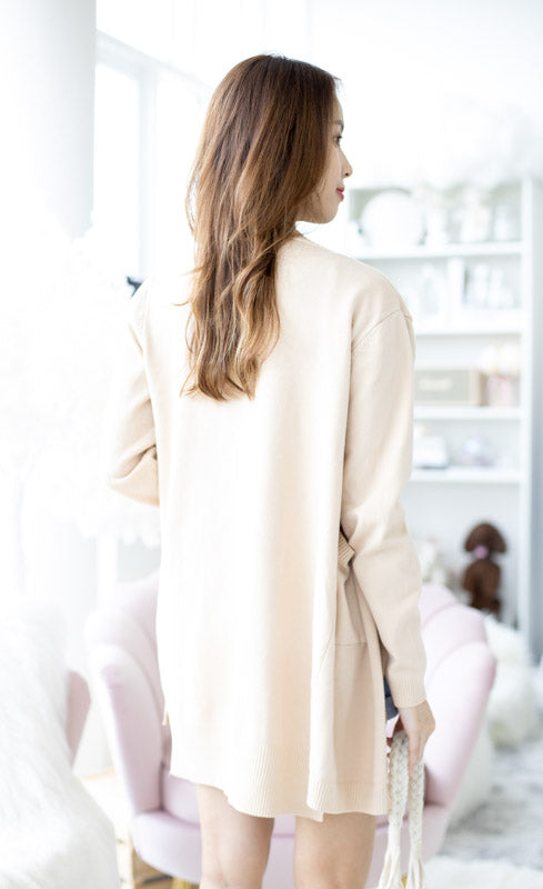 *Backorder* Zoe Basic Knit Cardigan – Cream