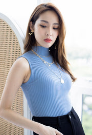 *Restocked* Cleo High Neck Ribbed Top – Blue
