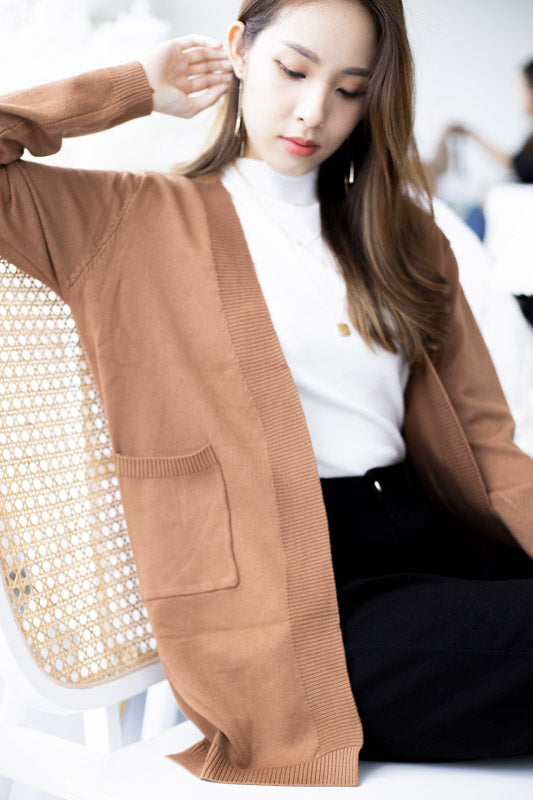 *Backorder* Zoe Basic Knit Cardigan – Cinnamon