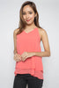 Maya Chain Strap Tank - (Salmon/Grey)
