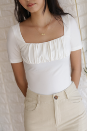 Nora Ruched Top – White