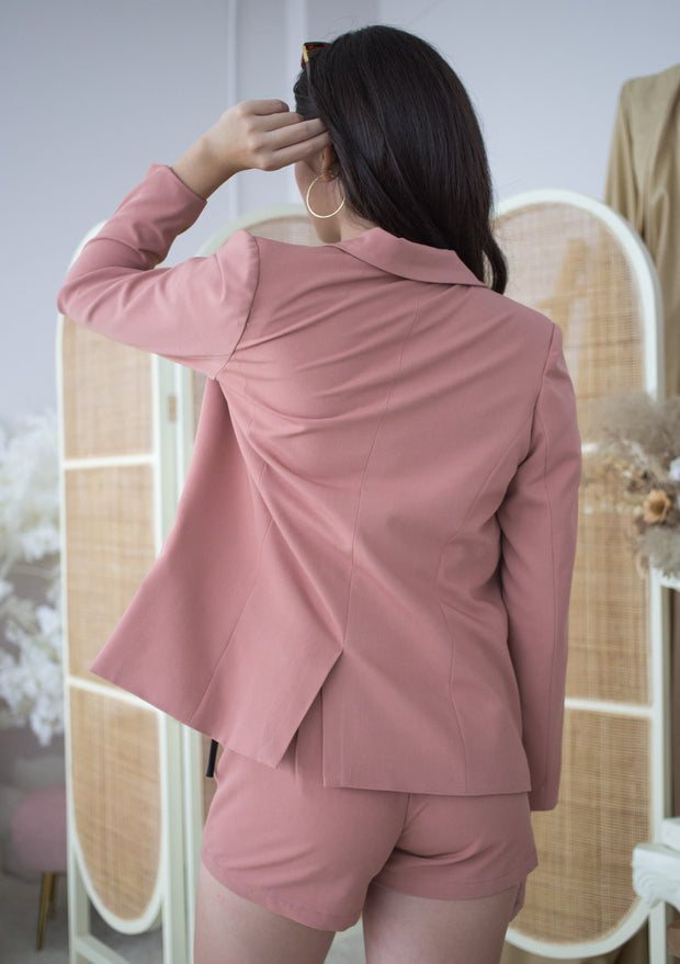 basic chic blazer with shoulder pads, dusty rose, tortoiseshell button