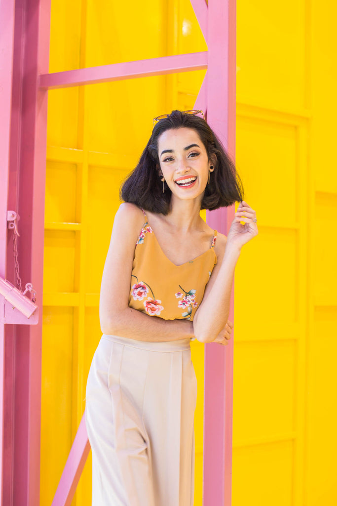 Andrea Wrap Crop Top  – Mustard