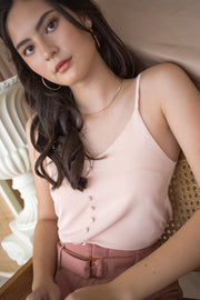 light pastel pink button camisole thin strap polyester