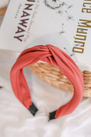 Knotted Headband – Deep Rose