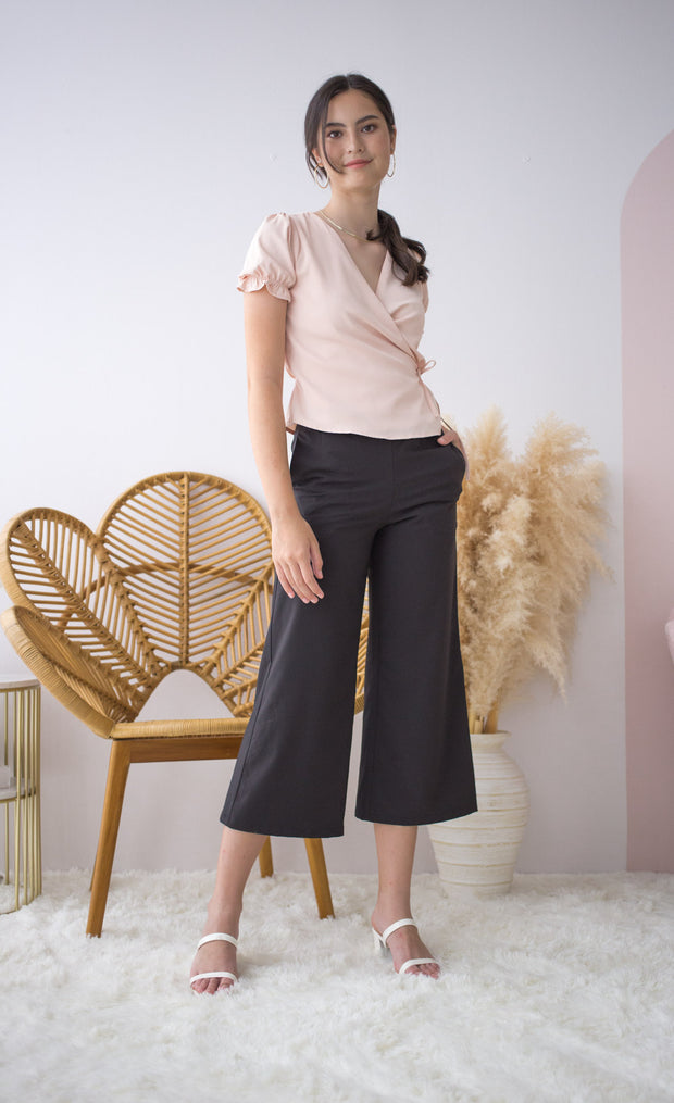 High waist wide leg flare cropped culottes pants seamless