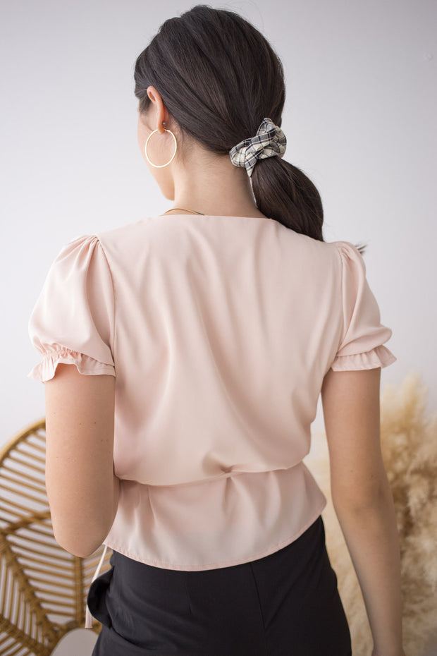 light pastel pink polyester overlap wrap tie top ruffle frill sleeve v neck