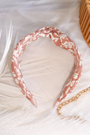 Floral Knotted Headband – Clay