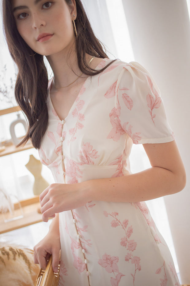 willow floral midi dress – white, front buttons, ruffles, midi dress, sleeved dress, elegant, simple, slim dress, pink floral, pastel