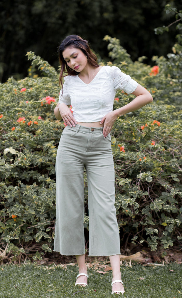 Gemma Wide Leg Pants – Matcha