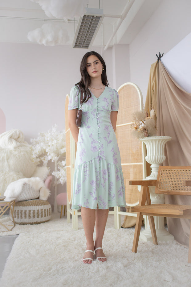 willow floral midi dress – mint, green, front buttons, ruffles, midi dress, sleeved dress, elegant, simple, slim dress, lilac purple floral, pastel