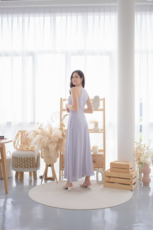 aurora maxi slit dress – periwinkle, halter, maxi dress, high slit, knee slit, lilac, pastel, bridesmaid dresses, wedding, flowy
