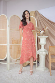 Hazel Polkadot Overlap Dress – Brick Red