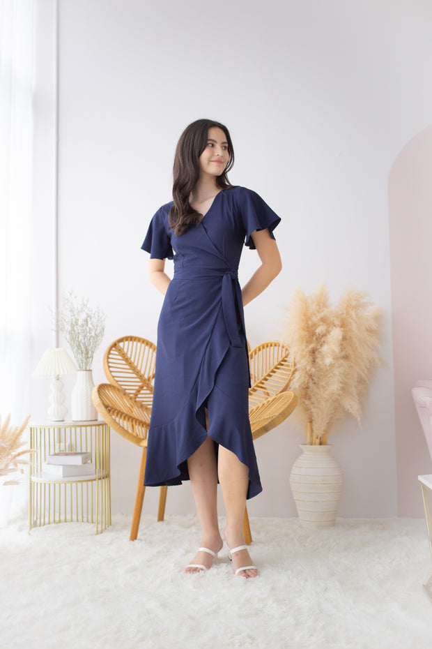 Hermione Overlap Flare Dress – Navy