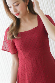 Aria swissdot mini dress, wine red maroon, feminine, cute, girly, square neck, straight cut neckline, flare sleeve