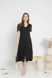 Ciara Swissdot Midi Dress – Black