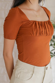 Nora Ruched Top – Tan