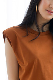*Restocked*Jolis Shoulder Padded Top – Tan