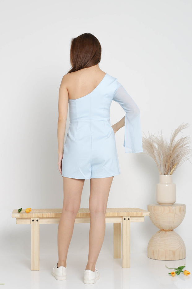 Josie toga romper, pastel baby blue, sheer sleeve, one sleeve, sleeve slit, pockets