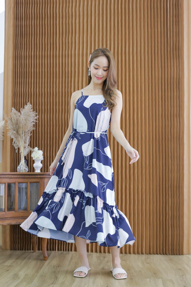 Elm halter dress, navy blue, abstract print, pastel, drop waist, halter straight cut neck line, feminine, flowy, midi, maxi