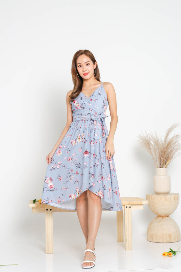 Fiorella Overlap Dress – Blue