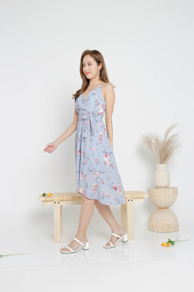 Fiorella overlap floral midi dress, blue, cami dress, flare