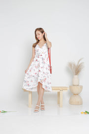 Fiorella overlap floral midi dress, white, cami dress, flare