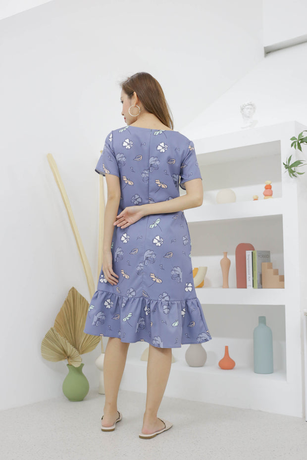 Sierra shift dress, blue, drop waist, ruffle hem, abstract pastel print, sleeved dress