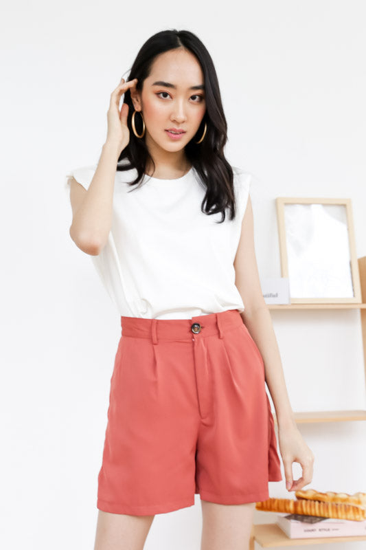 Ava Button Shorts – Rose