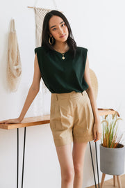 Jolis Shoulder Padded Top – Emerald