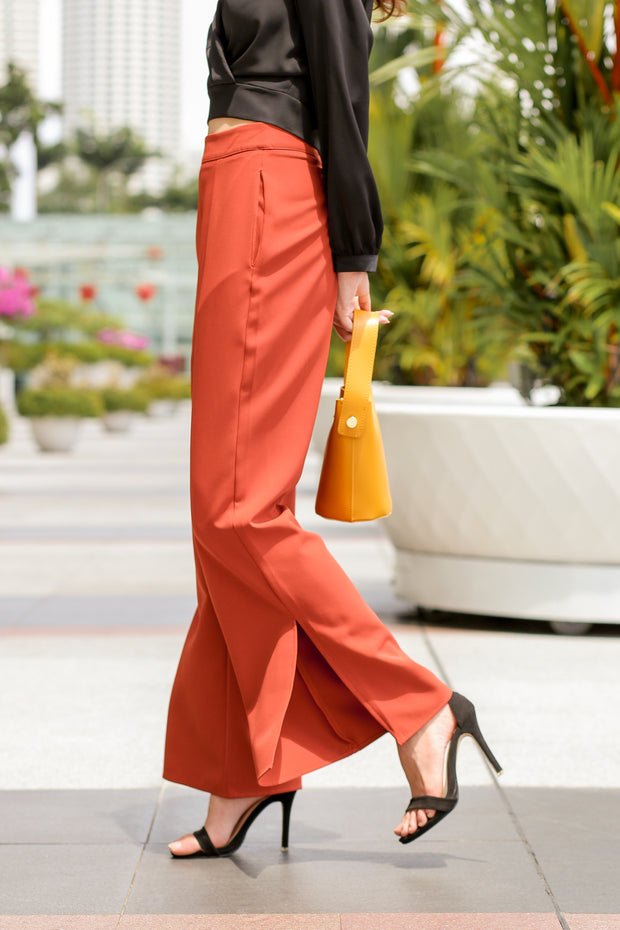 Dahlia Slit Pants – Burnt Orange