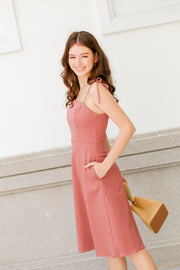 Elise Shoulder Tie Dress – Rose