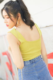 Lexy Square Knit Top – Yellow