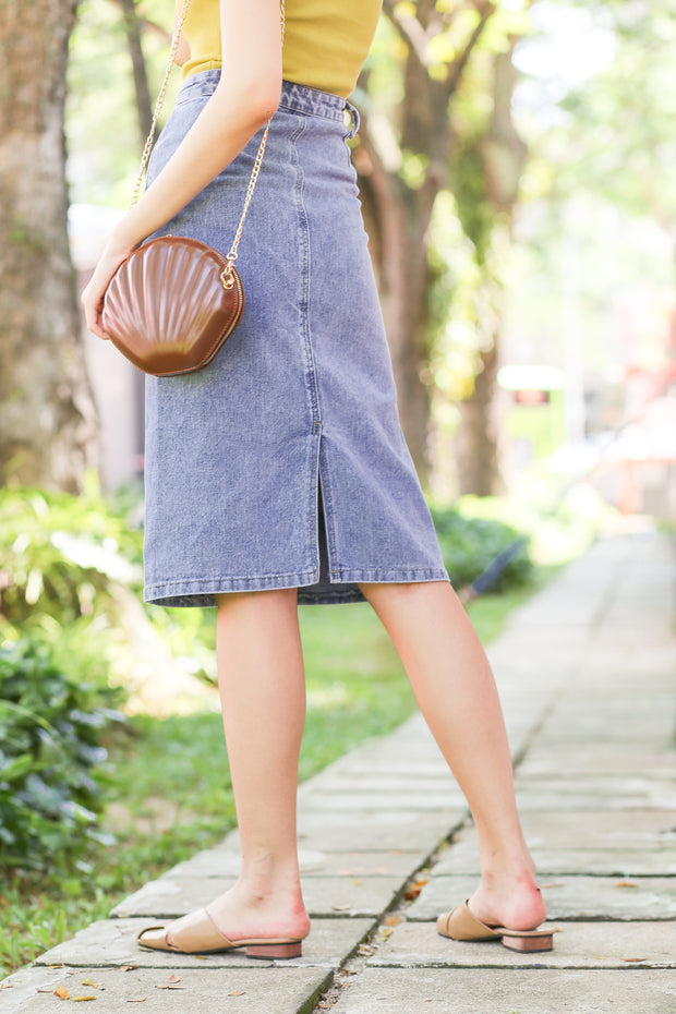 *BACKORDER* Aura Slit Denim Skirt