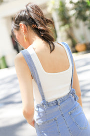 *BACKORDER* Lexy Square Knit Top – White
