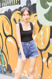 *BACKORDER* Lexy Square Knit Top – Black