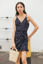 Catlin V Dress Romper – Dark Navy