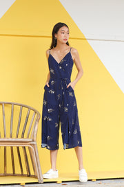 Jacy Sleeveless Slit Playsuit – Navy