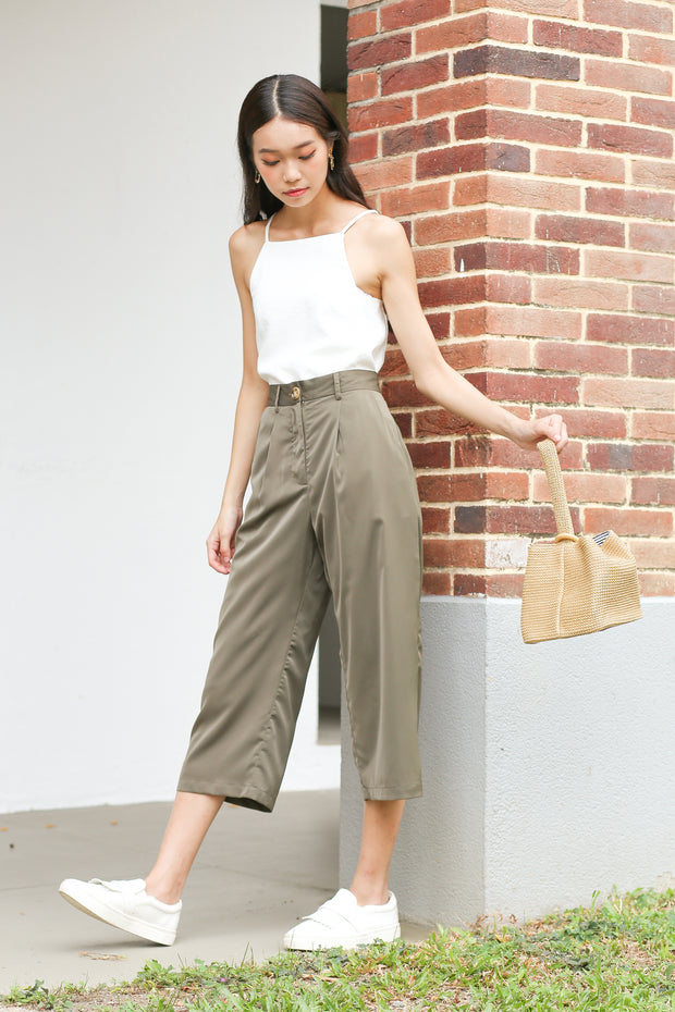 Alroy Cropped Culottes – Olive