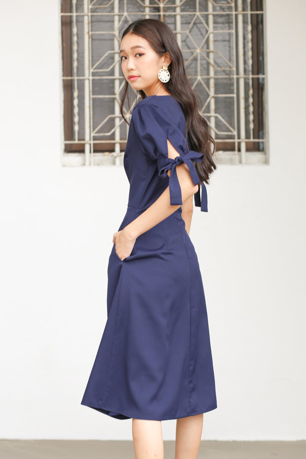 Arian Puff Sleeve Dress – Navy