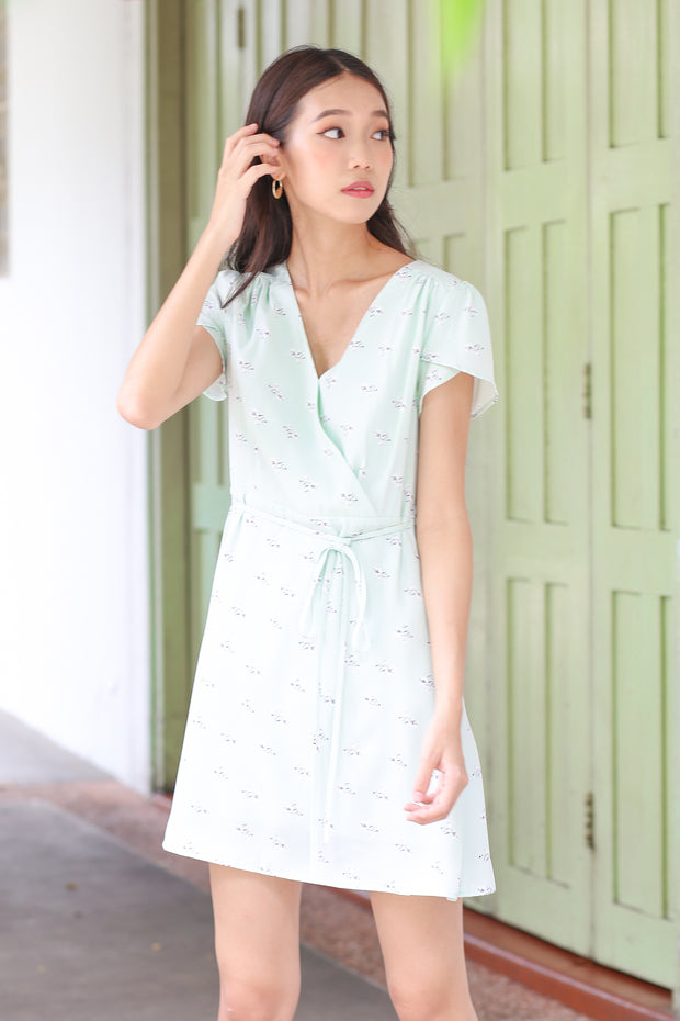 Kelley Floral Sleeve Dress – Mint