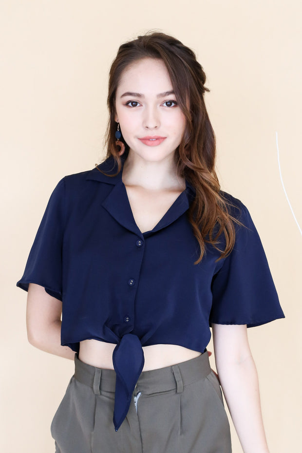 Caryl Front Tie Blouse – Navy